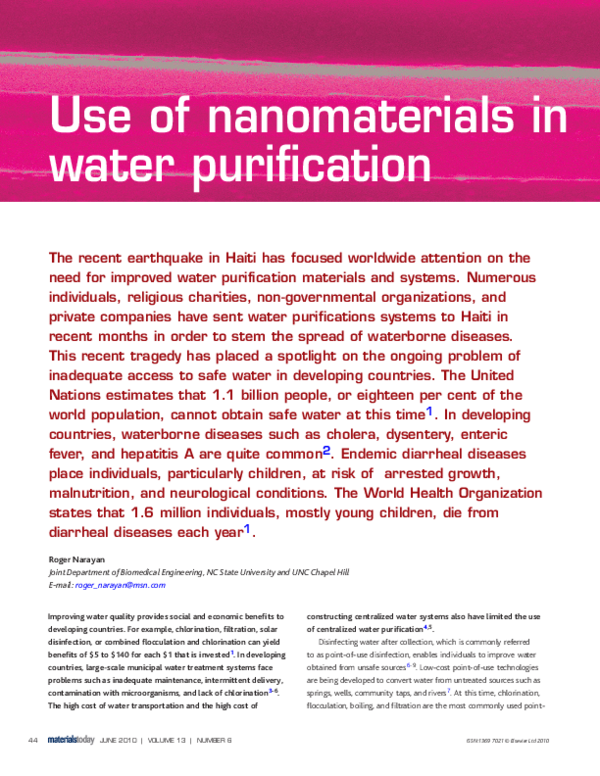 PDF) Use of nanomaterials in water purification | Prashant Umape