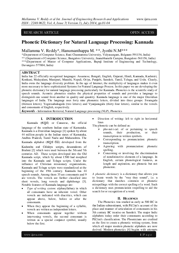PDF) Phonetic Dictionary for Natural Language Processing:Kannada