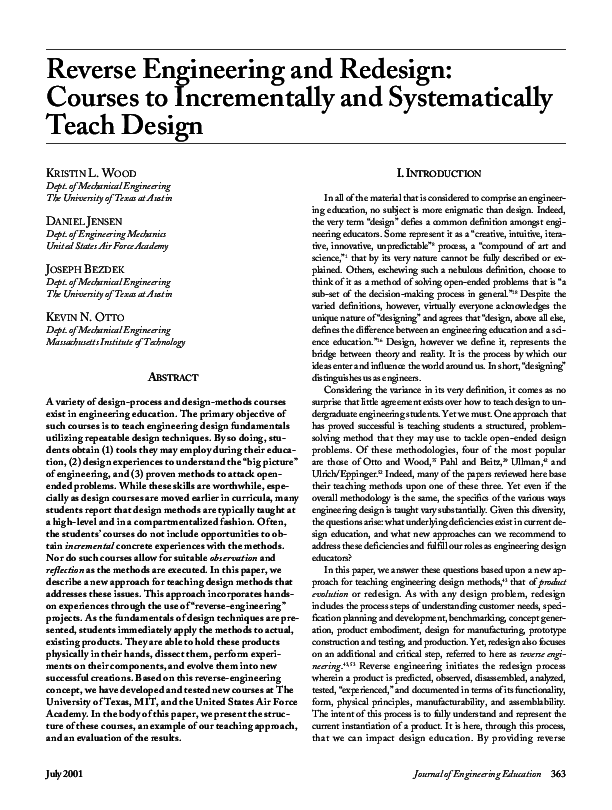 Pdf Reverse Engineering And Redesign Courses To Incrementally And Systematically Teach Design Kristin Wood Academia Edu