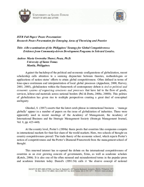 PDF) A Re- Examination of The Philippines' strategy for Global