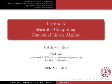 PDF) Lecture 3: Numerical Linear Algebra | Matthew Zahr
