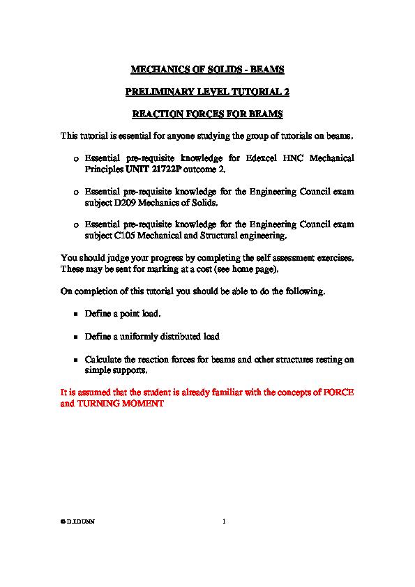 PDF) MECHANICS OF SOLIDS -BEAMS PRELIMINARY LEVEL TUTORIAL 2