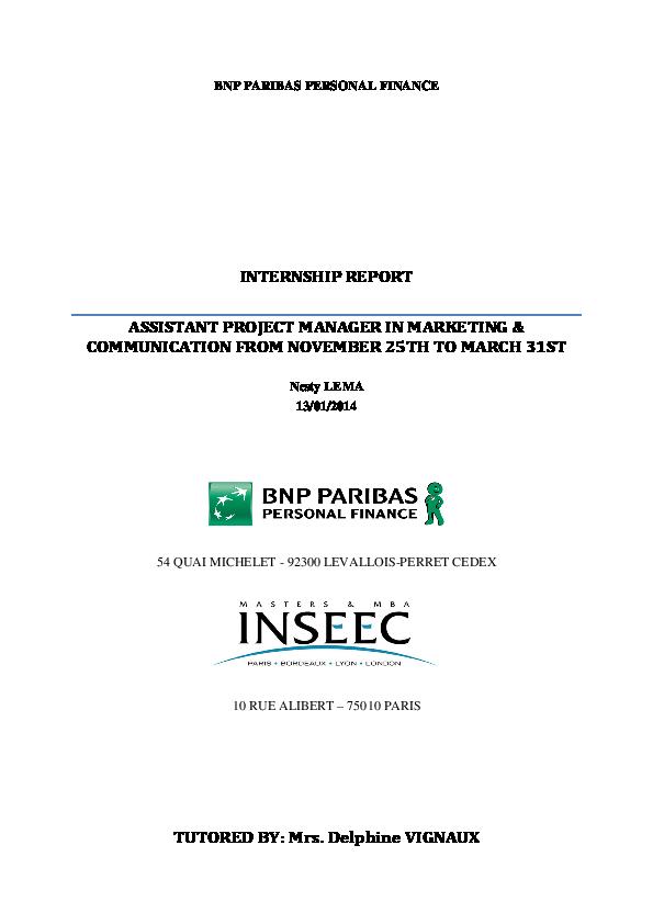 Internship Report Bnp Paribas Personal Finance Nesty Lema Academia Edu