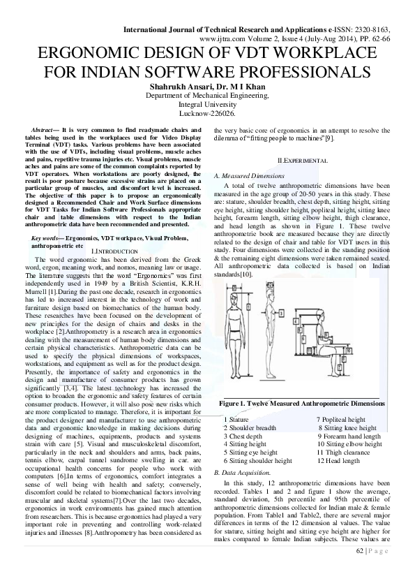 Pdf Ergonomic Design Of Vdt Workplace For Indian Software Professionals Ijtra Editor Academia Edu