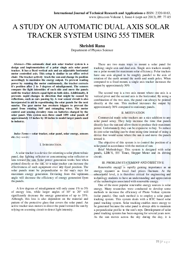 PDF) A Study On Automatic Dual Axis Solar Tracker System