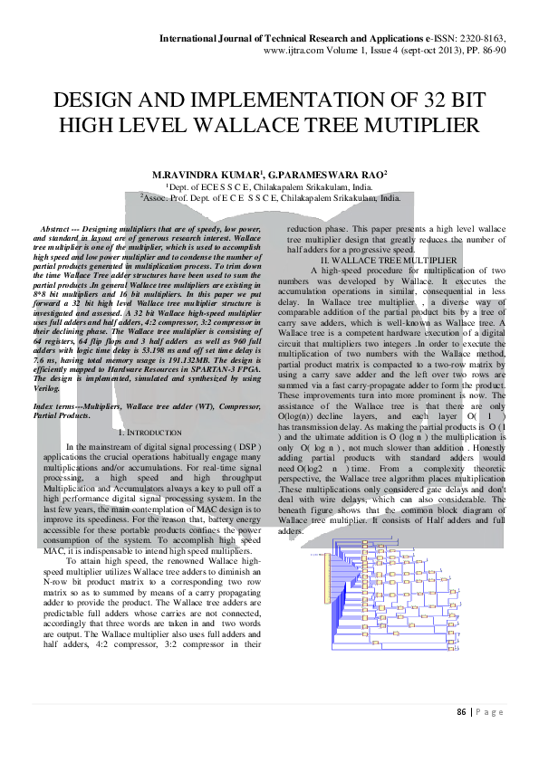 PDF) Design And Implementation Of 32 Bit High Level Wallace