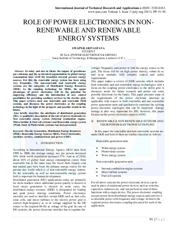 PDF) Role Of Power Electronics In Non Renewable And