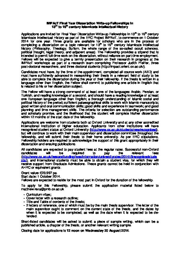 dissertation fellowships humanities