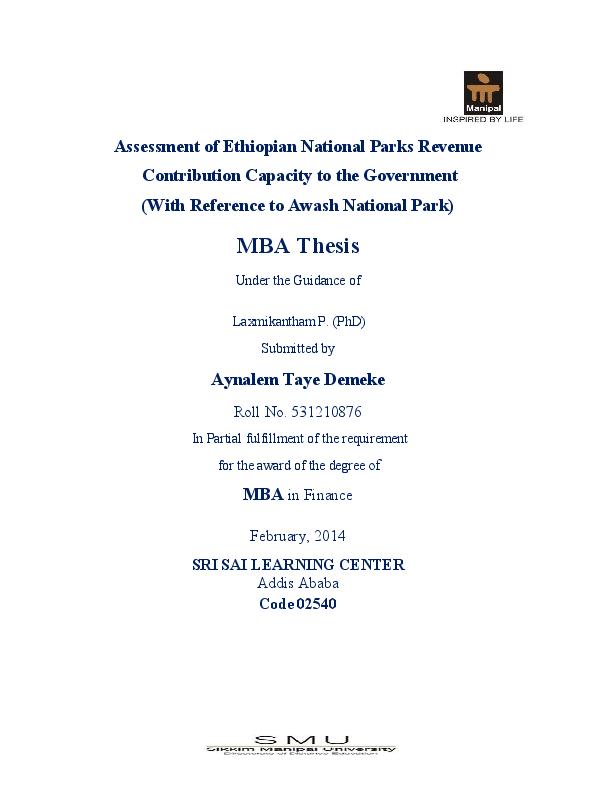 PDF) Assesment of Ethiopian National Parks Revenue