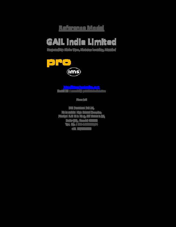 Gail India Ltd Reference | P Vinayakam - Academia edu