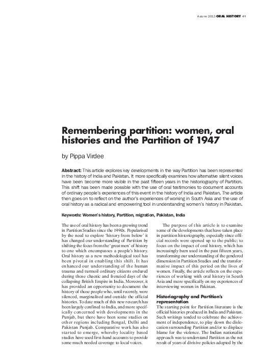 PDF) Remembering partition: women, oral histories and the
