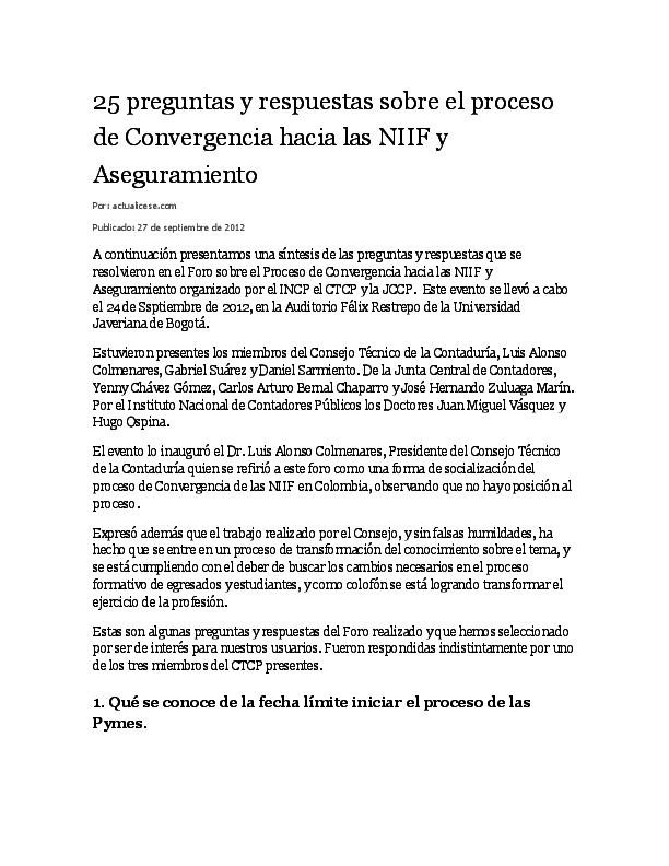 Doc 25 Preguntas Y Respuestas Sobre El Proceso De Convergencia Hacia Las Niif Y Aseguramiento Tatiana Sanchez N Academia Edu