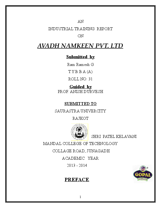 DOC) INDUSTRIAL TRAINING REPORT ON AVADH NAMKEEN PVT  LTD
