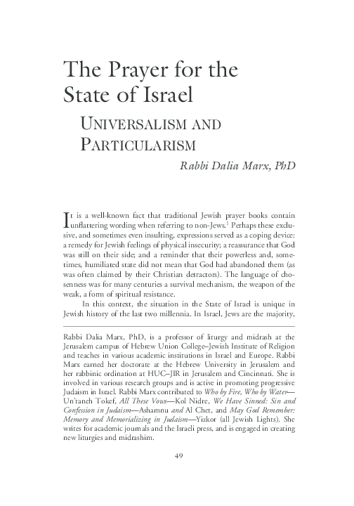 PDF) The Prayer for the State of Israel: Universalism and