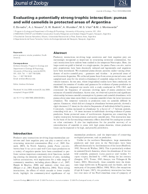 07643f233276 Evaluating a potentially strong trophic interaction  pumas and wild ...