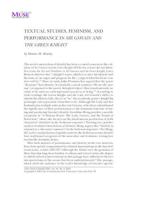 pdf textual studies feminism and peformance in sir gawain and the  pdf