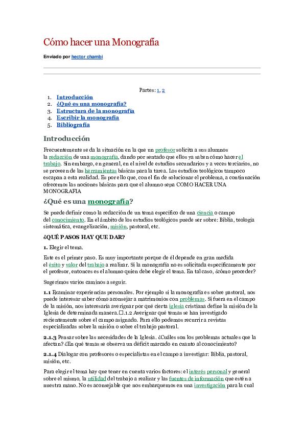 Doc Cómo Hacer Una Monografía Enviado Por Hector Chambi