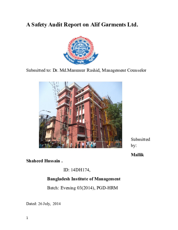 DOC) A Safety Audit Report on Alif Garments Ltd | Dr  MD  Mamunur