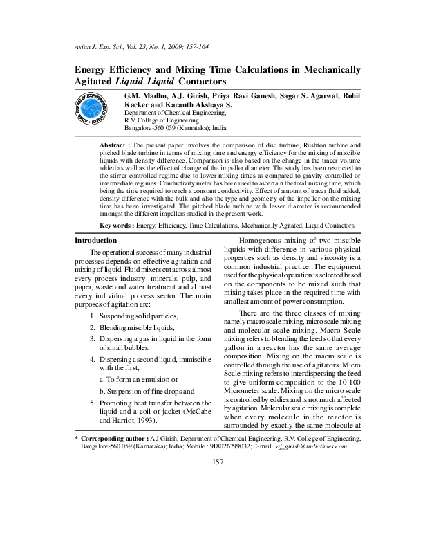 PDF) Energy Efficiency and Mixing Time Calculations in