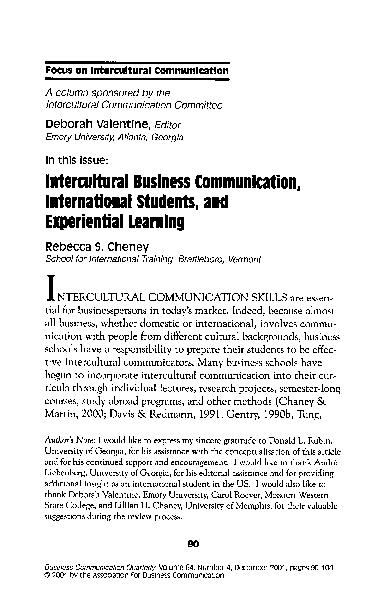 PDF) Intercultural Business Communication, International