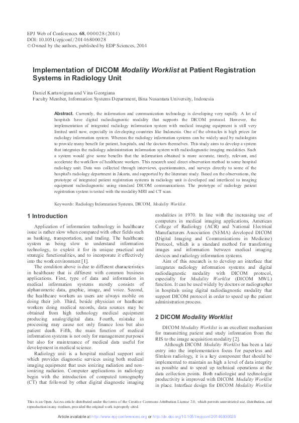 PDF) Implementation of DICOM Modality Worklist at Patient