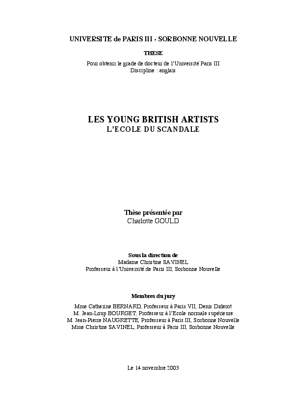 Les Young British Artists Lecole Du Scandale Charlotte Gould