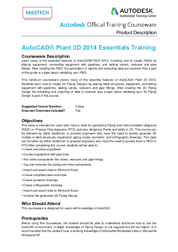 PDF) Product Description AutoCAD® Plant 3D 2014 Essentials