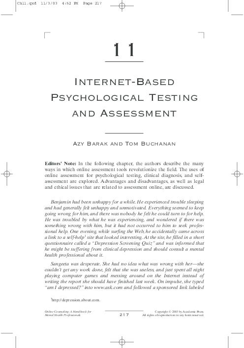 PDF) Internet-Based Psychological Testing and Assessment