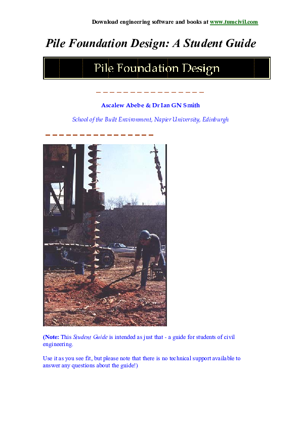 PDF) Pile Foundation Design: A Student Guide Introduction to
