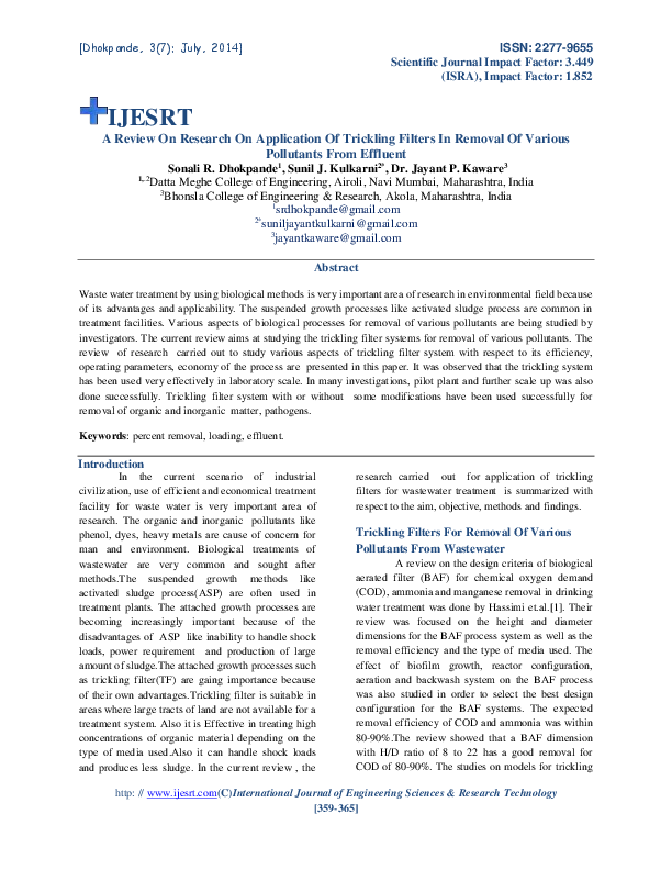 PDF) A Review On Research On Application Of Trickling