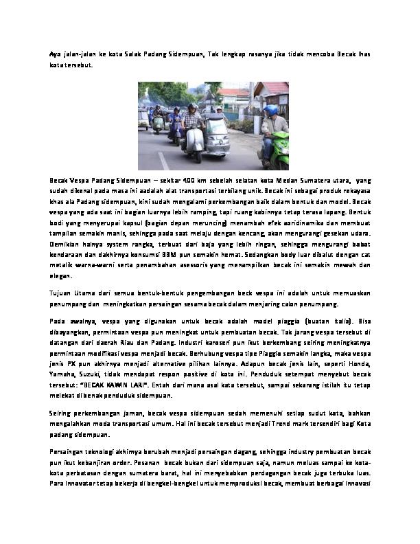 Doc Becak Vespa Padang Sidempuan Rahmat Siregar Academia Edu
