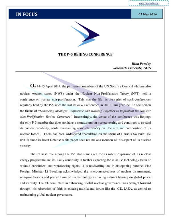 PDF) The P-5 Beijing Conference   Hina Pandey - Academia edu