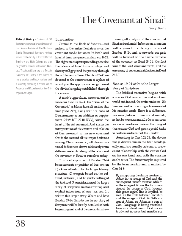 PDF) The Covenant at Sinai   Peter J Gentry - Academia edu