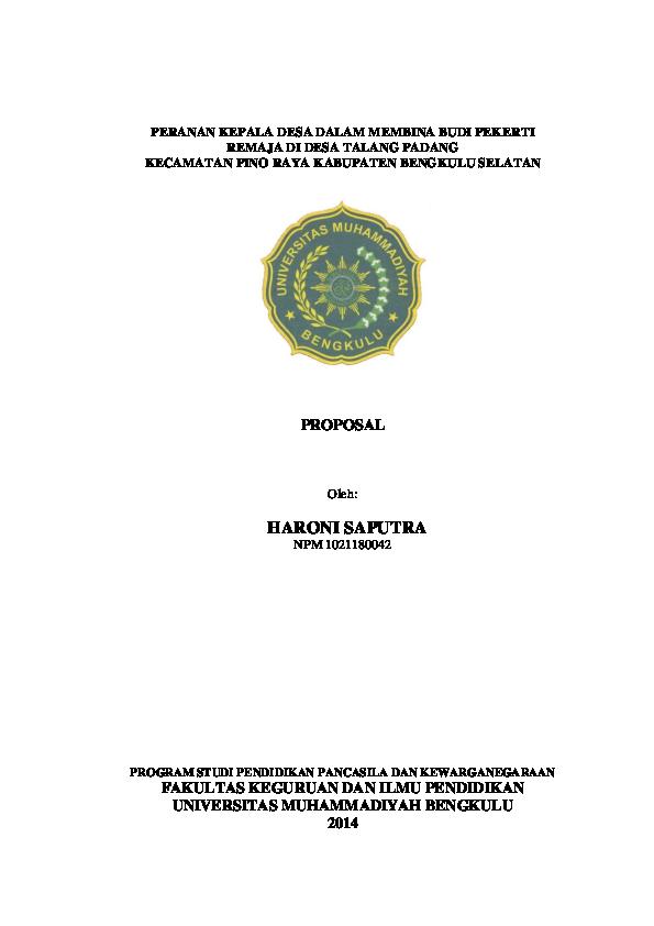 Doc Peranan Kepala Desa Dalam Membina Budi Pekerti Remaja Di Desa Talang Padang Kecamatan Pino Raya Kabupaten Bengkulu Selatan Proposal V Firmand Kawaguchi Academia Edu