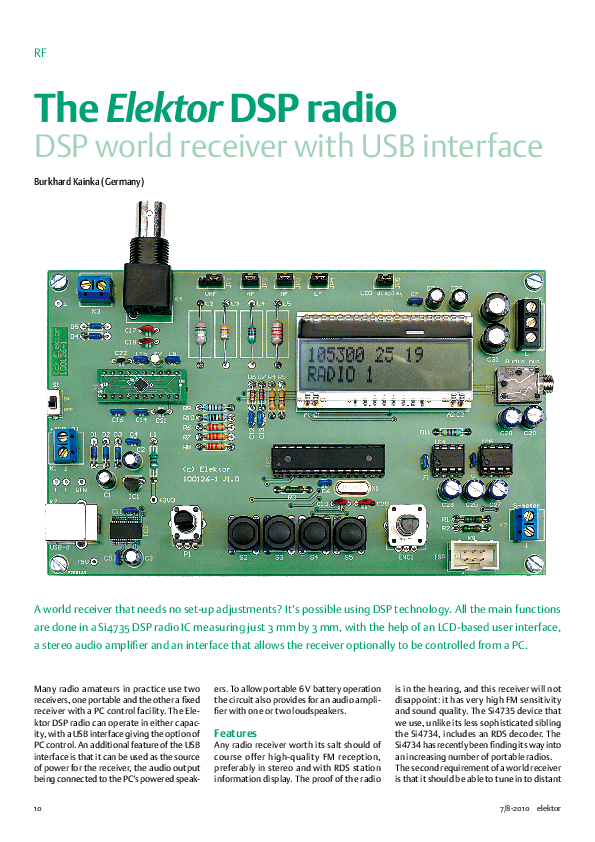 PDF) RF The Elektor DSP radio DSP world receiver with USB interface