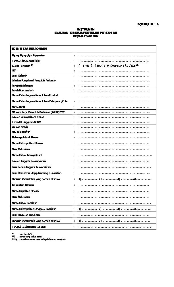 Formulir 1 A Instrumen Evaluasi Kinerja Penyuluh Pertanian Kecamatan Bpk Identitas Responden Pp Angkatan I Ii Iii Abdul Haris Academia Edu