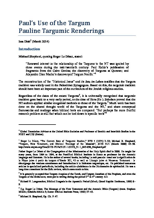PDF) Paul's Use of the Targum | Issa Diab - Academia edu