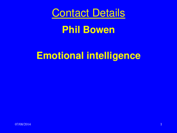PPT) Emotional intelligence | Phil Bowen - Academia edu