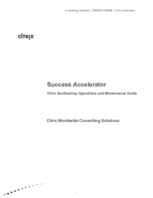PDF) Consulting Solutions | WHITE PAPER | Citrix XenDesktop