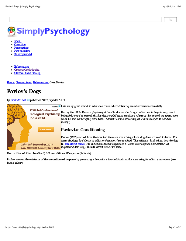 classical conditioning pavlov pdf