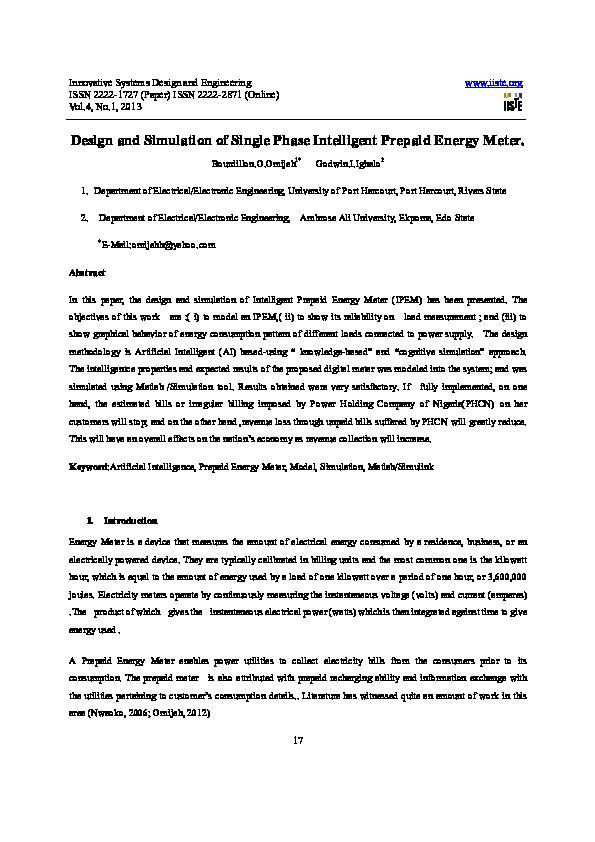 Pdf Innovative Systems Design And Engineering Design And Simulation Of Single Phase Intelligent Prepaid Energy Meter Bourdillon Omijeh Academia Edu