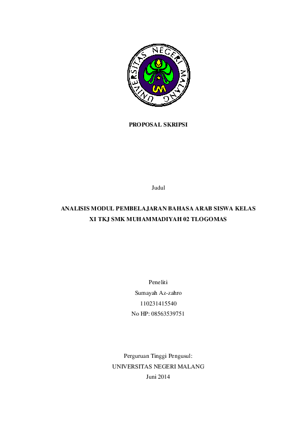 Doc Proposal Skripsi Fix Azzah Saniyyah Academia Edu