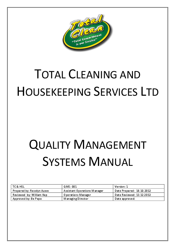 Pdf Total Cleaning And Housekeeping Services Ltd Quality Management Systems Manual William Kep Academia Edu