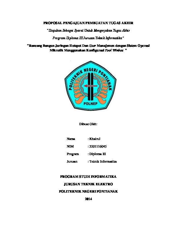 Doc Proposal Pengajuan Pembuatan Tugas Akhir Diajukan Sebagai Syarat Untuk Mengerjakan Tugas Akhir Program Diploma Iii Rahmad Razuly Academia Edu