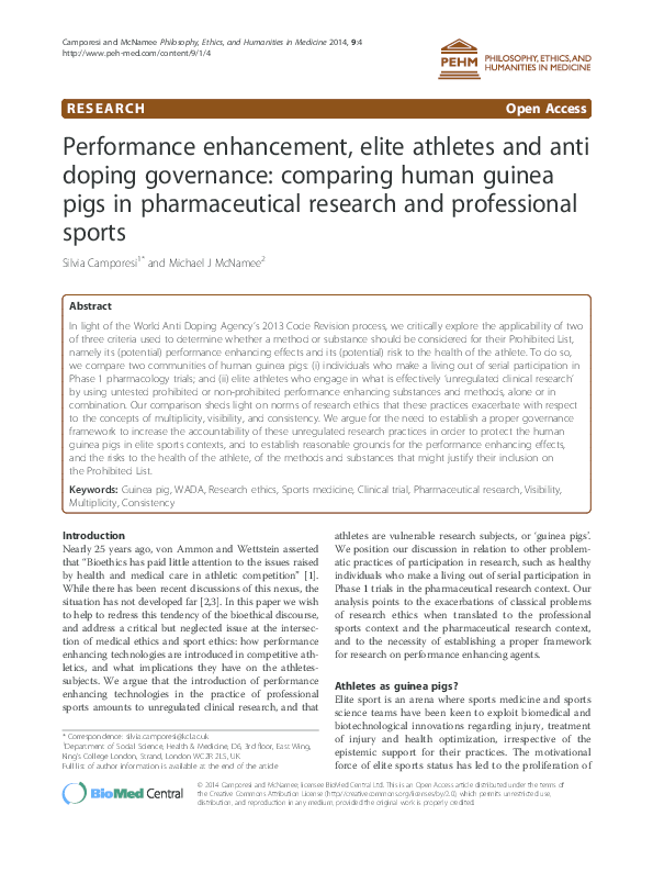 PDF) Performance enhancement, elite athletes and anti doping