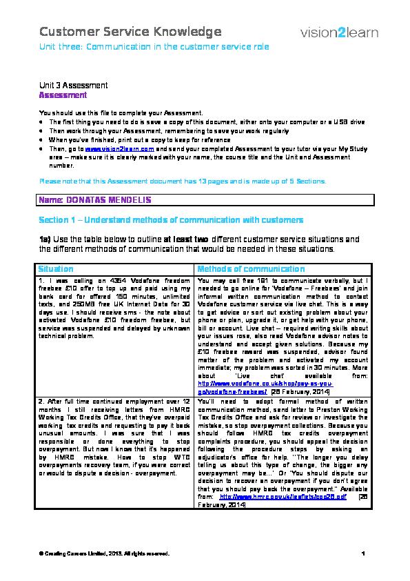 DOC) Customer Service Principles Level 2 - Unit 3 | DONATAS MENDELIS