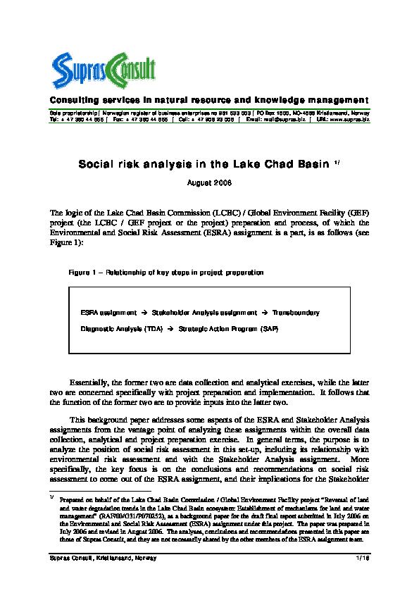 PDF) Social Risk Analysis in the Lake Chad Basin | Lars T Soeftestad