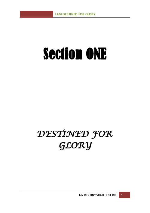 DOC) DESTINED FOR GLORY -Section one and Two 2014 | BLESSING
