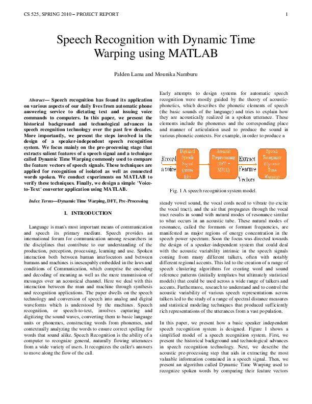 PDF) Speech Recognition with Dynamic Time Warping using MATLAB