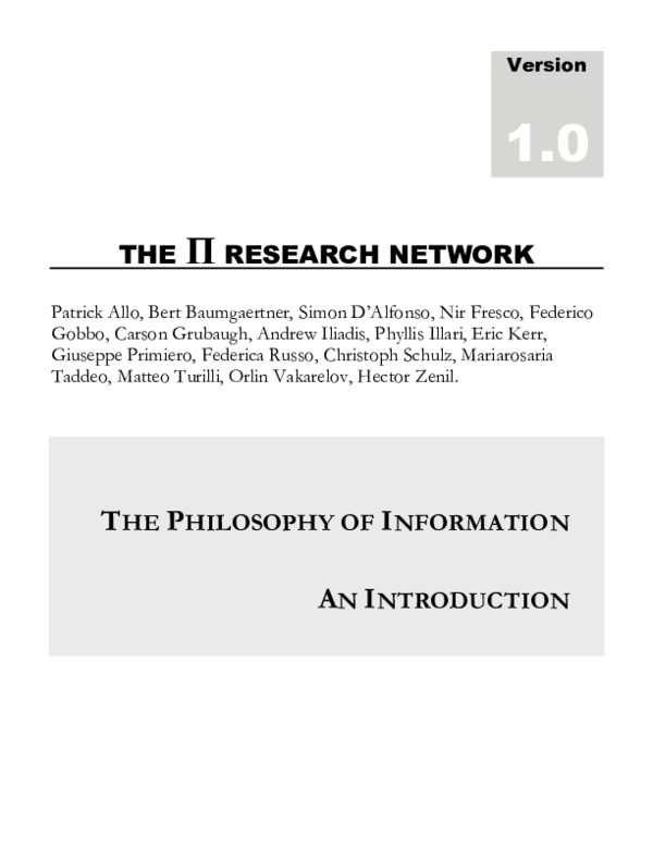 PDF) Introduction to the Philosophy of Information | Patrick